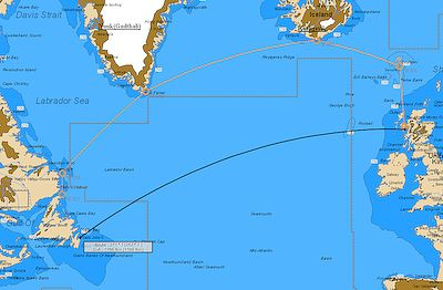 Map of the north atlantic showing the direct sailing route from