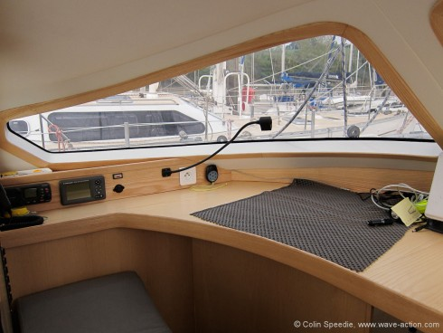 The chart table is in the raised doghouse. Not only does this put navigational equipment close to the crew on deck, it also frees up a considerable space down below.