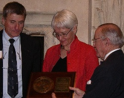 John Harries and Phyllis Nickel receive the 2008 Far Horizons Award from the Cruising Club of America