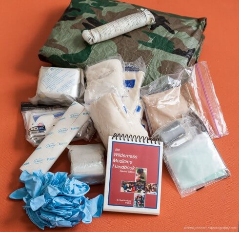 The first aid and survival kit we were carrying when John fell.