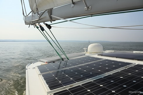 Solar Panels charging batteries aboard sail boat