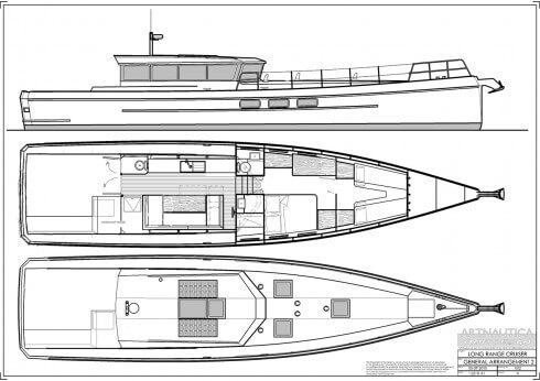 This is only one of the several layouts Dennis has drawn and is experimenting with, so please don't fixate on the details. I have only included it to show how much usable volume there is in the boat, particularly in this version with the extended cabin.