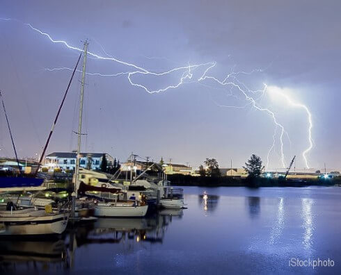 Thunderstorm Lightning Over Thea Foss Waterway Boats Tacoma Wash