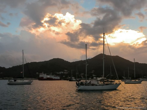 Storm clouds gather over Tyrrell Bay, Carriacou.