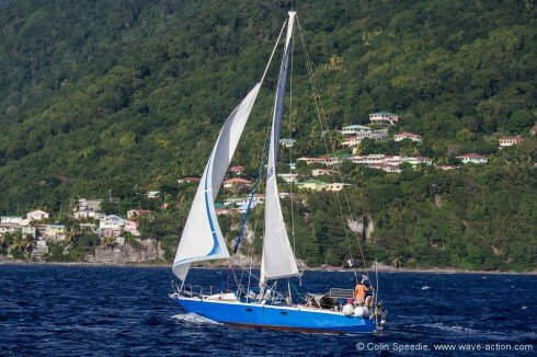 sailing along the coast of Dominica