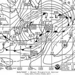 A weather fax map of the North Atlantic for October 06, showing a hurrican force storm.
