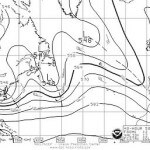 A 500 mb forecast weatherfax map from May 10, 2008.