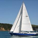 The hard dodger on Lane and Kay Finley's  Annapolis 44 sailboat, Mai Tai.