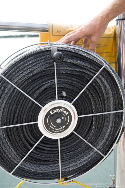 A close-up of the line reels.