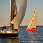 Hallett sails in action: Wednesday night beercan racing on Casco Bay. The red boat is Richard's, built to his design.