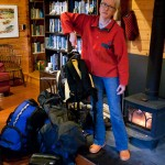 Phyllis weighing luggage in preparation for our trip to look after aluminum expedition sailboat Polaris near Aasiaat on the Greenland West Coast.