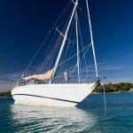 Aluminum expedition sailboat Morgan's Cloud aground in the Bahamas.