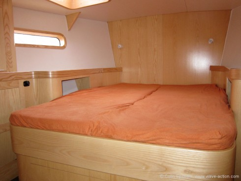 The forward double is a good size and the cabin is light and airy.