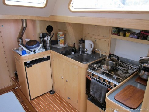 The galley is neat and simple.