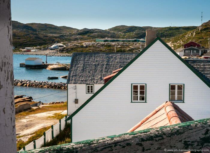 The view from the belfry of the restored Moravian mission building at the Inuit settlement of Hopedale.