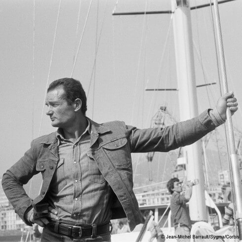 March 1976, Toulon, France — Éric Tabarly visits Alain Colas on his new giant yacht, Le Club Mediterranee.