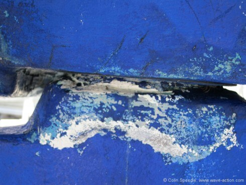 It's not only the rudder stock that has to carry extraordinary loads. The area around the lower bearing where the stock exits the hull does too.  And in this case something was obviously suffering, as there were deep cracks visible on both sides. GRP stock, too, with visible repairs on the rudder shell, effected with epoxy filler, before setting off—for the Atlantic...