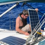 Mid Atlantic repairs - changing a delaminating solar panel that was shorting to the deck.