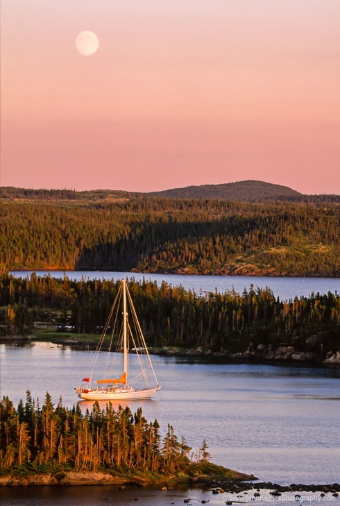 """""""Morgan's Cloud"""" lies at anchor in the glow of the setting sun and the rising moon at Maidens Arm, a very sheltered and uninhabited anchorage on the Great Northern Peninsula. Though uninhabited by people, we had lots of company from otters, moose and birds."""