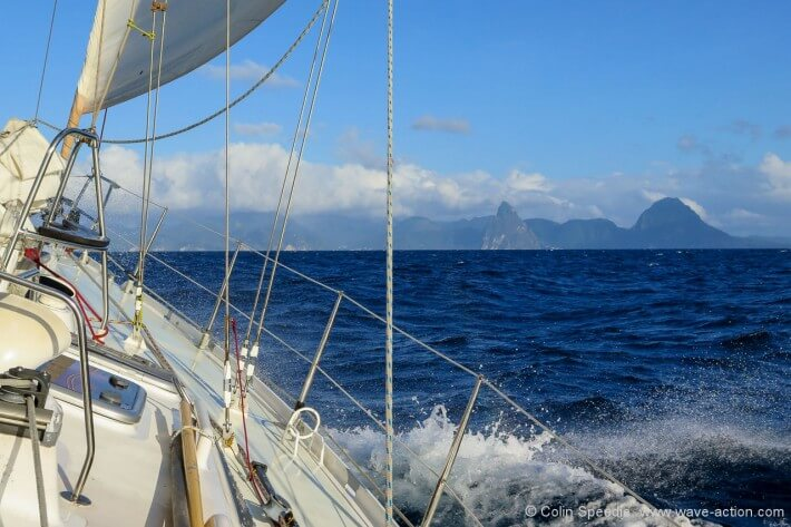 Tacking in to the Pitons, St Lucia.