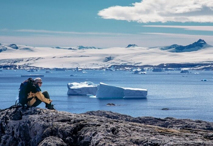 Phyllis contemplates the meaning of Adventure at the same fjord on the east coast where Fridtjof Nansen started the heroic age of exploration with his 1888 transit of Greenland.