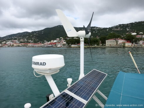 Living off grid means wind and solar.