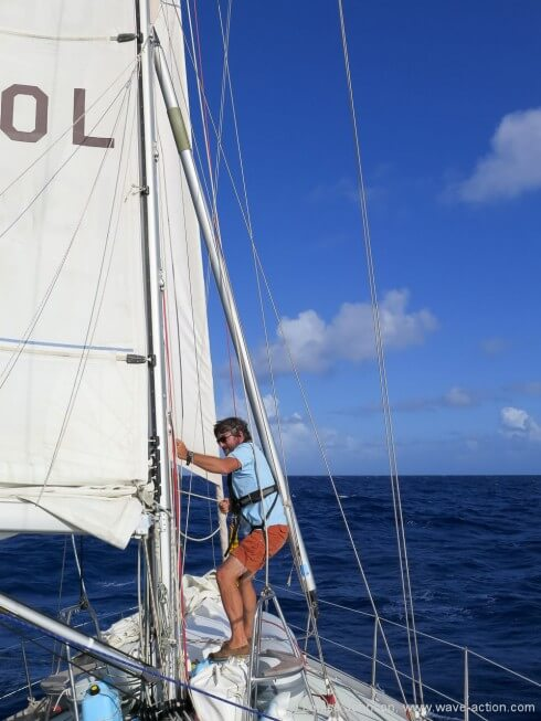 Pic 1 - lowering the pole onto the foredeck to be rigged-2