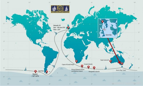 2018 Golden Globe solo round the world course race starting from Falmouth UK on 14th June 2018