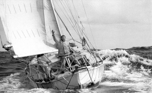 April 1969: Robin Knox-Johnston waving aboard his 32ft yacht SUHAILI off Falmouth, England after becoming the first person to sail solo non-stop around the globe.