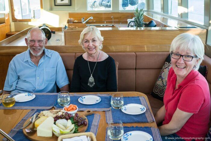 """Phyllis hanging out with Steve and Linda Dashew on """"Wind Horse"""" arguably the first sailor's motorboat of recent times."""